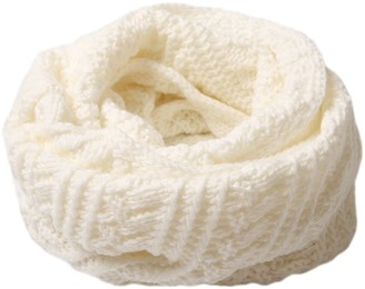 DELEY Winter Warm Infinity Scarf Thick Cable Woollen Knitted Loop Snood Circle Wrap Neck Cowl Shawl Scarves White-1