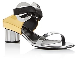Proenza Schouler Women's Mixed Media Mirror-Heel Sandals