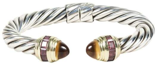 "David Yurman 925 Sterling Silver and 14K Yellow Gold with Citrine "" Renaissance"" Cable Bracelet"