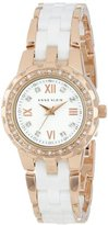 Anne Klein Women's 10/9456WTRG Swarovski Crystal Accented Rose Gold-Tone and White Ceramic Bracelet Watch