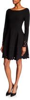 Lela Rose Laser-Cut Boat-Neck Knit Dress