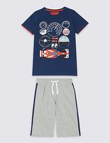 Marks and Spencer Round Neck Short Pyjamas (3-16 Years)