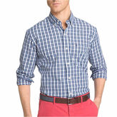 Izod Long-Sleeve Strech Plaid Button-Front Shirt
