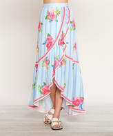 Flying Tomato Blue & Pink Floral Maxi Skirt