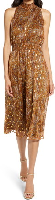 Sam Edelman Foil Dot Paisley Sleeveless Dress