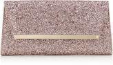 Jimmy Choo MARGOT Tea Rose Metallic Coarse Glitter Fabric Accessory Clutch Bag