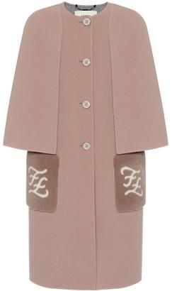 Fendi Shearling-trimmed virgin wool coat