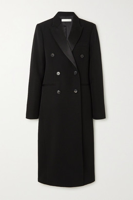 Victoria Beckham Satin-trimmed Double-breasted Wool-gabardine Coat - Black