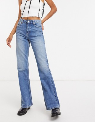 Topshop flared jeans in mid wash blue