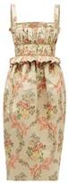 Brock Collection Floral-jacquard Ottoman Midi Dress - Womens - Beige Multi