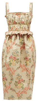 Brock Collection Floral-jacquard Ottoman Midi Dress - Beige Multi