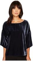 Vince Camuto Drop Shoulder Ruffle Sleeve Drapey Velvet Blouse Women's Blouse