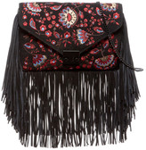 Loeffler Randall Embriodered Suede Lock Clutch with Fringe