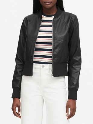 Banana Republic Petite Vegan Leather Cropped Bomber