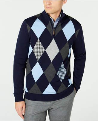 Club Room Men Pima Argyle Quarter-Zip Sweater