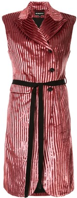 Ann Demeulemeester Striped Velvet Long Gilet
