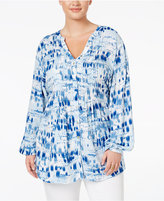 Melissa McCarthy Trendy Plus Size Printed Pintucked Blouse
