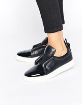 Sol Sana Mickey Black Patent Leather Slip On Sneakers