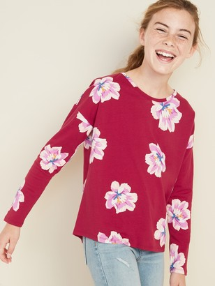 Old Navy Printed Softest Long-Sleeve Crew-Neck Tee for Girls
