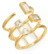 Elizabeth and James Dia White Sapphire Triple Band Ring