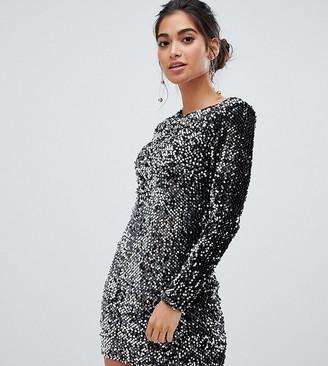 Parisian Petite all over sequin high neck dress