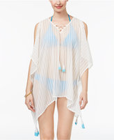Steve Madden Easy Breezy Lace-Up Tassel Cover up & Poncho