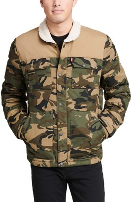 Levi's Levis Men's Woodsman Arctic Cloth Sherpa-Collar Quilted Trucker Jacket