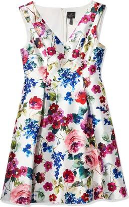 Adrianna Papell Women's Floral Mikado MIDI Dress