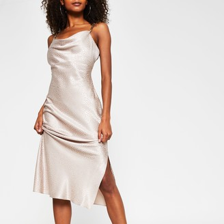 River Island Womens Beige sleeveless cowl neck midi dress