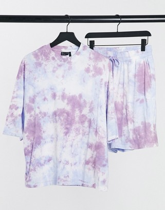 ASOS DESIGN lounge t-shirt and short pyjama set in tonal purple tie dye