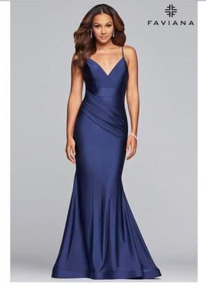 Faviana Navy Charmeuse Gown