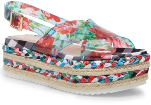 Betsey Johnson Fuller Vinyl Espadrille Flatform Sandals Women's Shoes