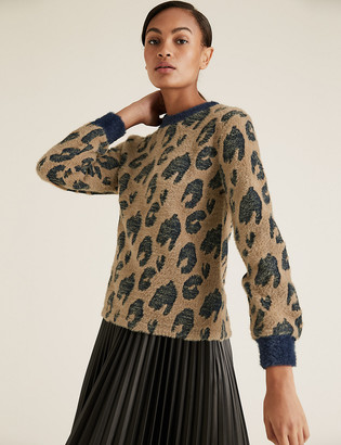 Marks and Spencer Brushed Jacquard Long Sleeve Top