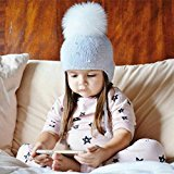 AMA(TM) Baby Boys Girls Winter Warm Hair Ball Earbud Hat Kids Knitted Wool Beanie Cap Hemming Hat (0-3 Years, Gray)