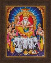 Avercart Lord Brahma / Vishwakarma / Vishvakarman / God of craftsmen and architects Poster 21x28 cm with Photo Frame (8.5x11 inch framed)
