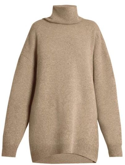 Raey Displaced Sleeve Roll Neck Wool Sweater - Womens - Grey