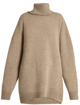 Raey Displaced-sleeve Roll-neck Wool Sweater - Womens - Grey