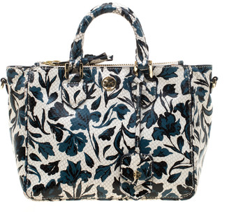 Tory Burch White/Blue Floral Print Snake Embossed Leather Double Zip Top Handle Bag