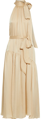 Zimmermann Belted Gathered Washed-silk Maxi Dress