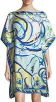 Emilio Pucci Short-Sleeve Printed Silk Coverup Caftan