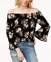 American Rag Juniors' Printed Off-The-Shoulder Bell-Sleeved Top, Created for Macy's