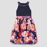Lots of Love by Speechless Girls' Floral Spring Dress - Black/Pink