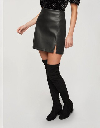 Miss Selfridge faux-leather skirt with split front in black