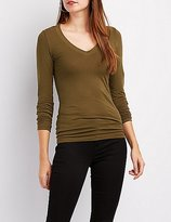 Charlotte Russe Long Sleeve V-Neck Tee