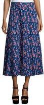 Tanya Taylor Designs Wixson Floral Silk Midi Skirt, Navy