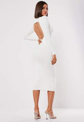 Missguided Cream Rib High Neck Open Back Midi Dress