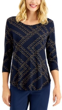 JM Collection Chain-Print Top, Created for Macy's