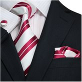 Landisun Striped Mens Silk Neck Tie Set
