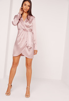 Missguided Silky Long Sleeve Wrap Shift Dress Lilac