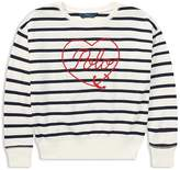 Ralph Lauren Girls' Striped & Embroidered Heart Anchor Top - Big Kid